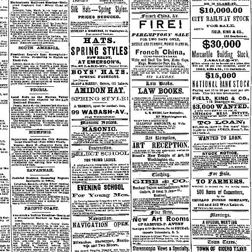 Chicago Tribune Chicago Ill 1864 1872 March 27 1869 Image 1