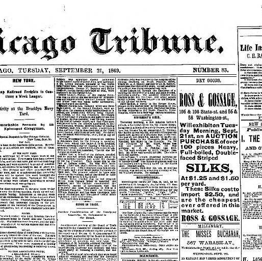 Chicago Tribune Chicago Ill 1864 1872 September 21 1869