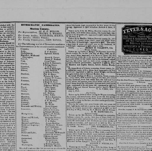 Indiana State sentinel  (Indianapolis [Ind ]) 1845-1851
