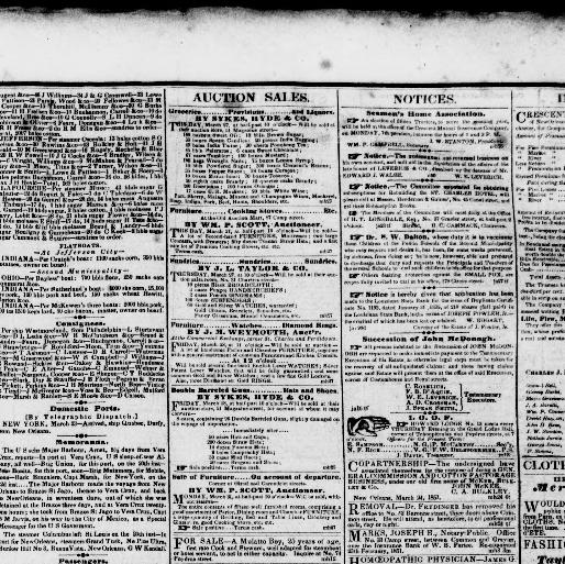 Domicil Len the daily crescent orleans la 1848 1851 march 27 1851