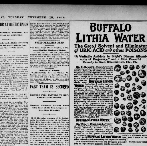 Advertising-print 1 For Diseases Peculiar To Women Ad Objective 1902 Buffalo Lithia Water Spring No
