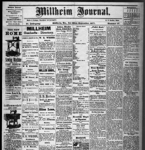 Kare Stehle millheim journal volume millheim pa 1876 1984 september 20