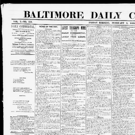 Baltimore Daily Commercial Baltimore Md 1865 1867 February 09