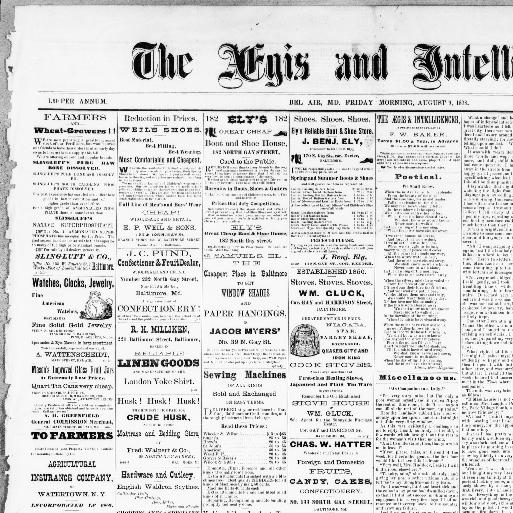 The aegis & intelligencer  (Bel Air, Md ) 1864-1923, August 09, 1878