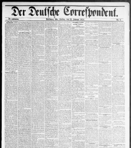 Der Deutsche correspondent. (Baltimore, Md.) 1848-1918, February 27 ...