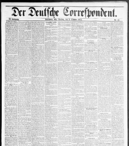 Der Deutsche correspondent. (Baltimore, Md.) 1848-1918, October 09 ...