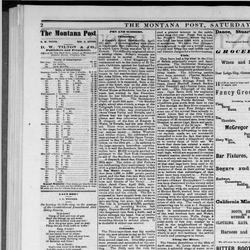 The Montana post  (Virginia City, Montana Territory [i e  Mont