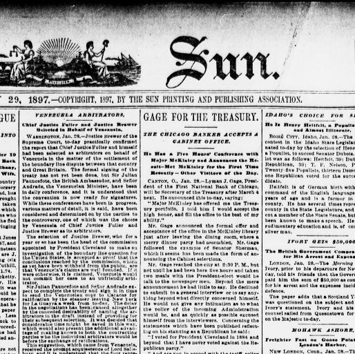 The sun  (New York [N Y ]) 1833-1916, January 29, 1897, Image 1