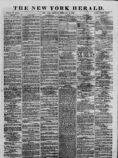 a1cebc2622 The New York herald. (New York [N.Y.]) 1840-1920, February 11, 1867, Image 1  « Chronicling America « Library of Congress