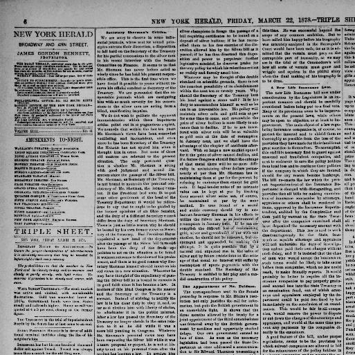 The New York Herald New York Ny 1840 1920 March 22 1878