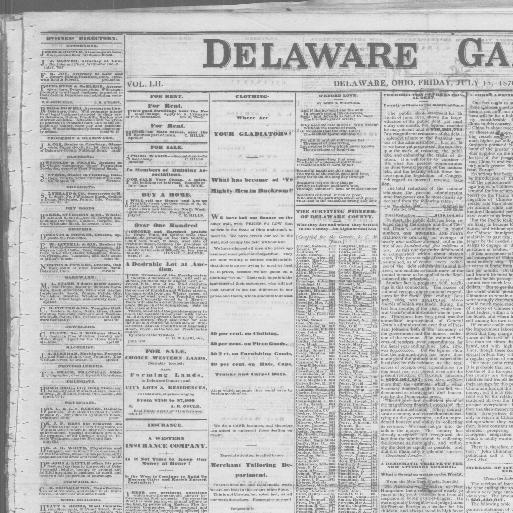 Delaware Gazette Delaware Ohio 1855 1886 July 15 1870 Image 1