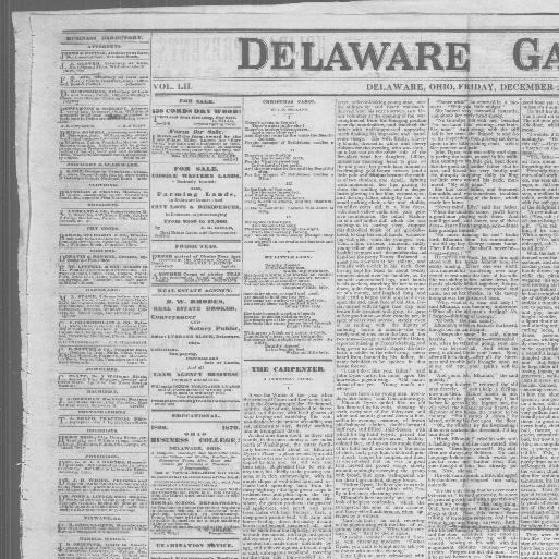 Delaware Gazette Delaware Ohio 1855 1886 December 23 1870