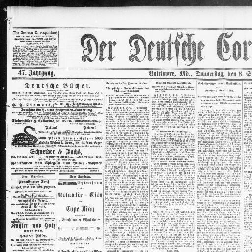 Der Deutsche Correspondent. (Baltimore, Md.) 1841 1918, September 08, 1887,  Image 1 « Chronicling America « Library Of Congress