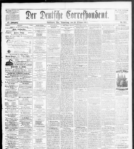 Der Deutsche Correspondent., October 20, 1887, Image 1. About Der Deutsche  Correspondent. (Baltimore, Md.) 1841 1918