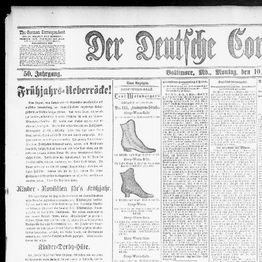 Der Deutsche correspondent. (Baltimore, Md.) 1841-1918, March 10 ...