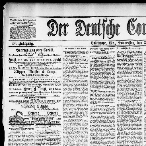 Der Deutsche Correspondent Baltimore Md 1841 1918 April 03