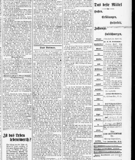 Der Deutsche correspondent. (Baltimore, Md.) 1841-1918, January 20 ...