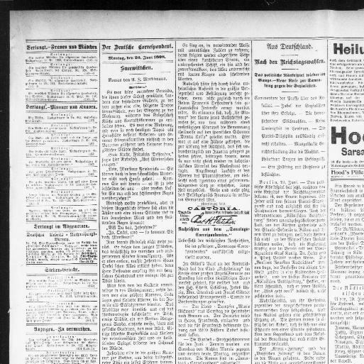 Der Deutsche correspondent. (Baltimore, Md.) 1841-1918, June 20 ...
