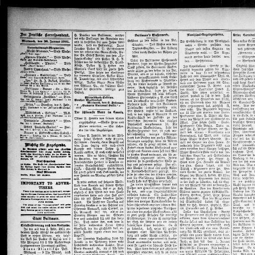 Der Deutsche correspondent. (Baltimore, Md.) 1841-1918, January 30 ...