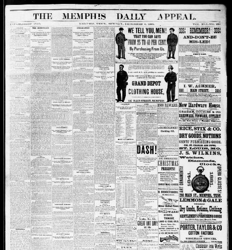 63f00af8 Memphis daily appeal. (Memphis, Tenn.) 1847-1886, December 04, 1881, Image  1 « Chronicling America « Library of Congress