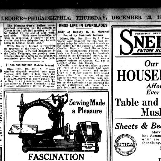 Evening Public Ledger Philadelphia [Pa] 4040 December 40 Classy Arch Sewing Machine Co Philadelphia Pa