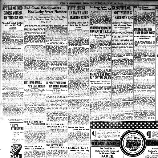 aa2a9d64c The Washington herald., May 14, 1918, Page 2, Image 2. About The Washington  herald. (Washington, D.C.) 1906-1939