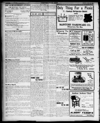 2ac86caa Albuquerque citizen., July 27, 1907, Page PAGE FOUR, Image 4. About  Albuquerque citizen. (Albuquerque, N.M.) 1907-1909