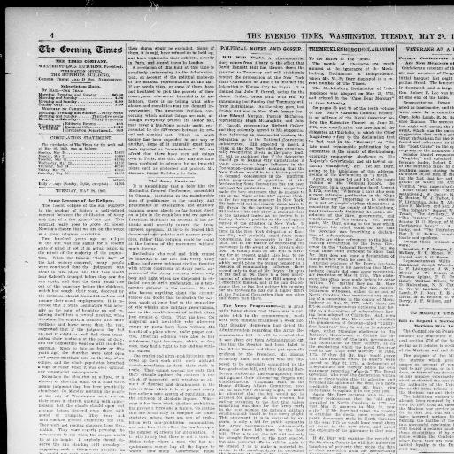 The evening times  (Washington, D C ) 1895-1902, May 29