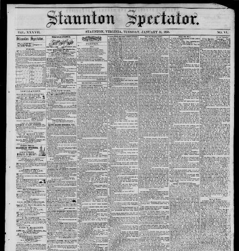Staunton spectator. (Staunton, Va.) 1849-1896, January 31 ... on