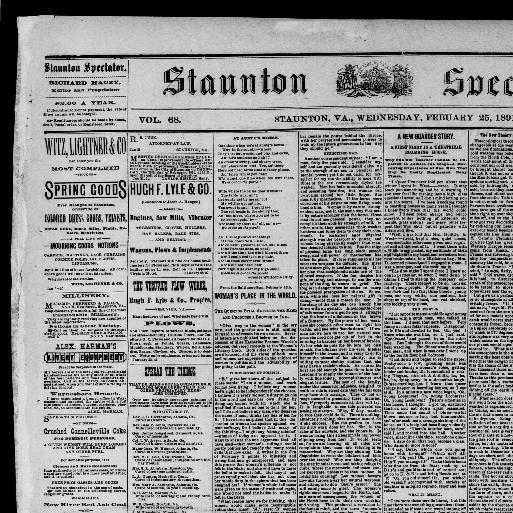 Staunton spectator  (Staunton, Va ) 1849-1896, February 25