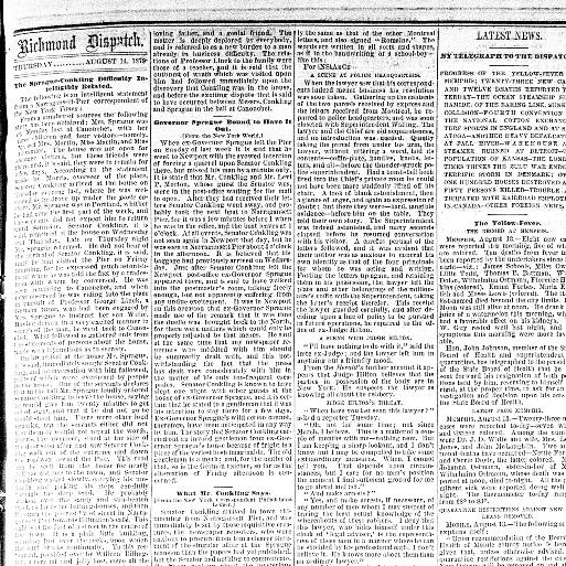 The daily dispatch  (Richmond [Va ]) 1850-1884, August 14