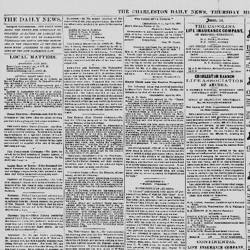 The Charleston daily news Charleston S C 1865 1873 April 15