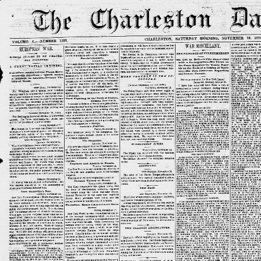 f1c656ba The Charleston daily news. (Charleston, S.C.) 1865-1873, November 19, 1870,  Image 1 « Chronicling America « Library of Congress