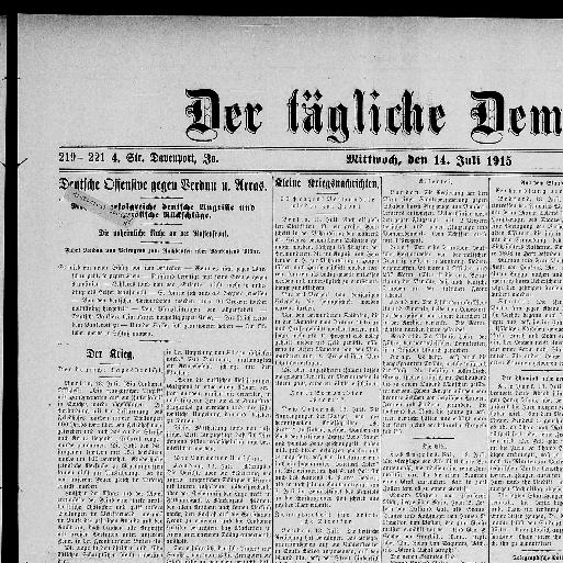 Der tägliche Demokrat. [volume] (Davenport, Iowa) 186?-1918, July ...