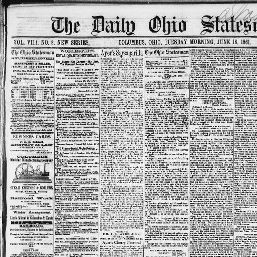 Daily Ohio Statesman Columbus Ohio 1855 1870 June 18 1861