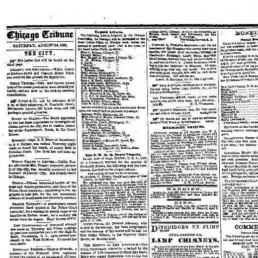Chicago Daily Tribune Volume Chicago Ill 1860 1864 August 24