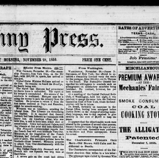 The Penny Press Cincinnati Ohio 1859 1860 November 28 1859