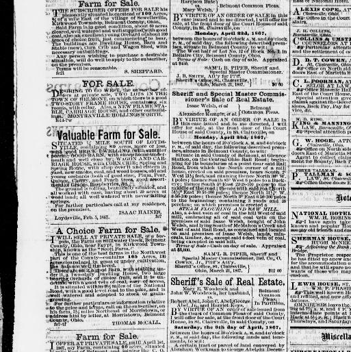 Belmont Chronicle St Clairsville Ohio 1855 1973 March 28 1867