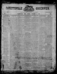 Thumbnail for the Dec. 17, 1850 edition of the Fayetteville Observer
