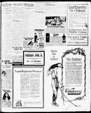 the morning tulsa daily world tulsa okla 1919 1927 april 09 Clock at 5 the morning tulsa daily world april 09 1919 final edition 4 o clock a m page 5 image 5 about the morning tulsa daily world tulsa okla
