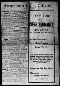 Thumbnail for the Jan. 3, 1914 edition of the American Fork Citizen