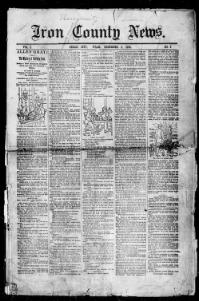 Thumbnail for the Dec. 6, 1890 edition of the Iron County News