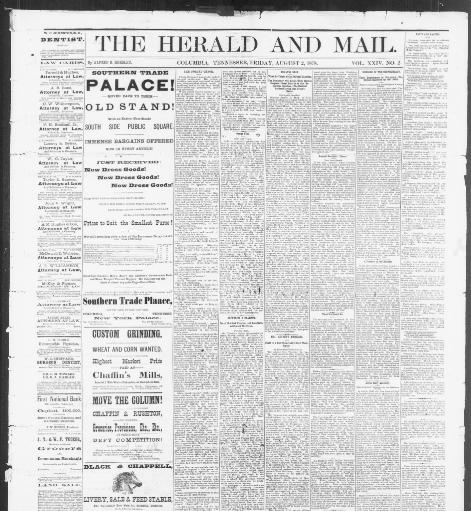 The herald and mail  (Columbia, Tenn ) 1873-188?, August 02, 1878