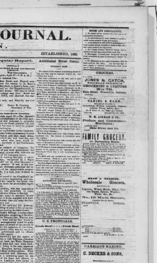 Evansville Daily Journal Ind 1863 1866 April 28 1865 MORNING EDITION Image 1 Chronicling America Library Of Congress