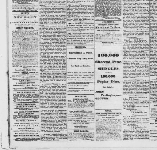 Evansville Daily Journal April 28 1865 MORNING EDITION Image 1 About Ind 1863 1866