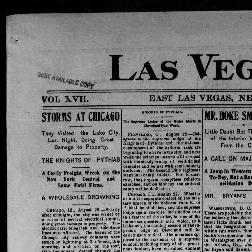 Las Vegas daily optic  (Las Vegas, N M ) 1880-1908, August 22, 1896