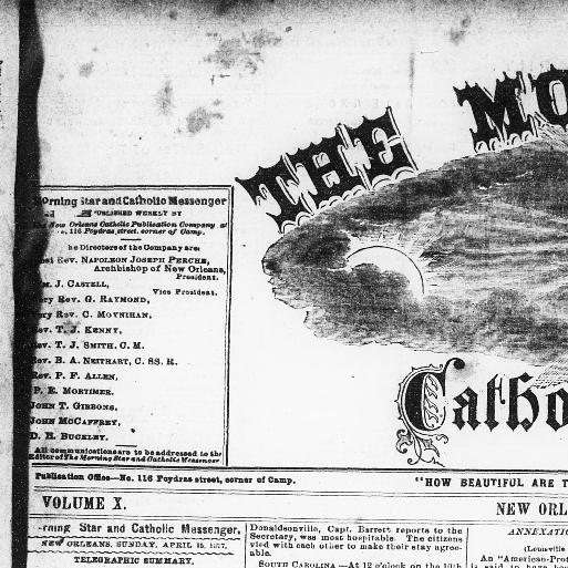The morning star and Catholic messenger. (New Orleans [La.]) 1868 ...