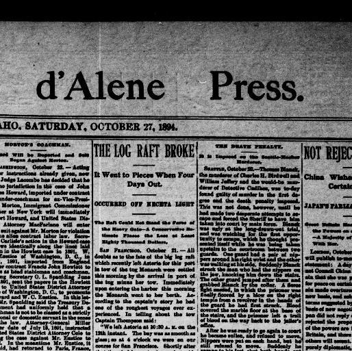 The Coeur D Alene Press Idaho 1892 1907 October