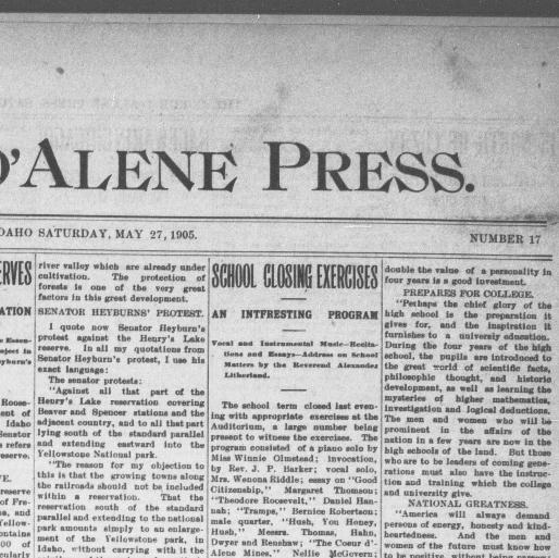 The Coeur D Alene Press Idaho 1892 1907 May 27 1905 Image 1 Chronicling America Library Of Congress