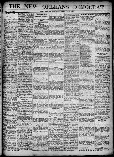 The New Orleans Democrat. (New Orleans, La.) 1875 1876, January 08, 1876,  Image 1 « Chronicling America « Library Of Congress